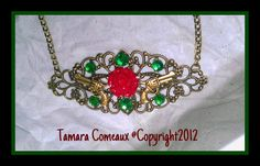 Handmade Victorian Steampunk Red Rose And Gold by TheFleshArtist, $16.00