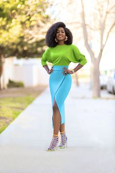 Stacey Dash, Style Pantry, Sophia Webster, Colorblock Dress, Fashion Pictures, Cute Fashion, Summer Time, Dress Outfits, High Waisted Skirt