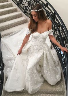 A-Line Off-the-Shoulder Sweep Train White Wedding Dress with Appliques M1191