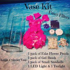 Vase Kits Cylinder Vase, Flower Petals, Sea Shells, Tea Lights, The Selection, Kit, Collection, Seashells, Tea Light Candles
