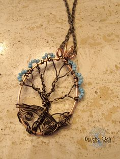 Tree Necklace Wire Wrapped Lilac Tree Flowers by bytheoakArt, $45.00