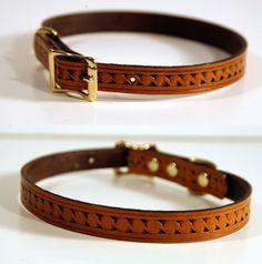 Chestnut Tan Tooled Leather Dog Collar