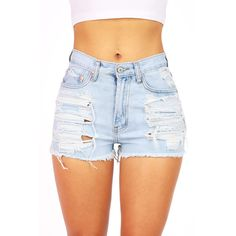 Pink Ice Beachbum High Waist Shorts ($38) ❤ liked on Polyvore featuring shorts, bottoms, pants, jeans, short, short jean shorts, destroyed denim shorts, distressed jean shorts, high-waisted denim shorts and distressed high waisted shorts