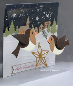 Handmade card by DT member Neline with Collectables Eline's Birds (Col1392), Creatables Horizon Pinetrees (LR0283), Horizon WIntervillage (LR0284) and Design Folder Winter Landscape (DF3421) by Marianne Design