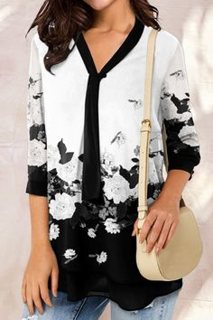 Elegant Floral Print Color-block V-neck 3/4 Sleeves Blouse - Shopingnova