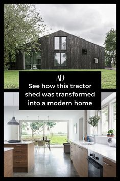 This run-down tractor shed was in a bad state, but you won't believe how incredible it looks now that it has been renovated. Check out the minimalist modern country home. #rural #before #after #restoration #reno #barn #contemporary #architecture #design #shiplap #kitchen #concrete #cement #millwork #countertops #minimal