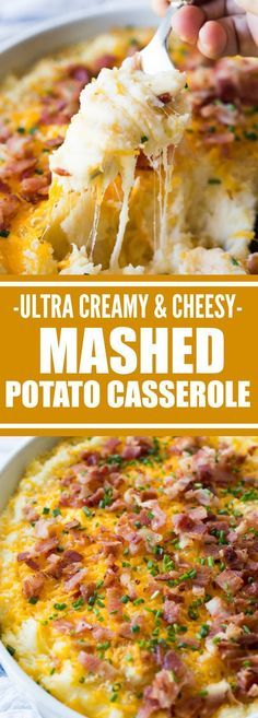 The creamiest, cheesiest mashed potatoes EVER! This easy to make side dish is loaded up with extra melty cheese, crispy bacon, and chives. The best part? You can make this (Mashed Potato Recipes) Traditional Thanksgiving Recipes, Stuffing Recipes For Thanksgiving, Holiday Recipes, Thanksgiving Cakes, Hosting Thanksgiving, Party Recipes, Thanksgiving Foods Sides, Recipes Dinner, Thanksgiving Mashed Potatoes Recipe