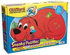This 46-piece GREAT BIG two-sided puzzle is full of surprises! Put together a GREAT BIG Clifford on one side and a fun Birdwell Island scene on the other. All the letters of the alphabet and numbers 0-9 are hidden in the picture…sneaky, huh? Find them all! Finished puzzle is 2 x 3 feet! That's humongous! Descriptions in English and Spanish. Ages 3 & Up  $11.99