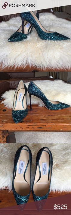 Turquoise Glitter Jimmy Choo 'Romy' Stilettos GORGEOUS Jimmy Choos in a turquoise glitter with a deep purple stiletto heel. These are brand new and have never been worn. Jimmy Choo Shoes Heels