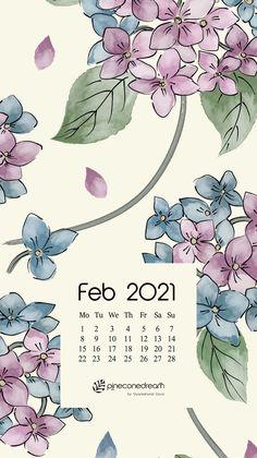 February 2021 free calendar wallpapers & printable planner, illustrated – Sweet Hydrangeas | Pineconedream by Gyaneshwari Dave