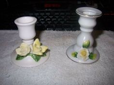 2 Small Vintage Yellow Rose Bone China/Ceramic Candle Stick Holders - $4 (Killeen)