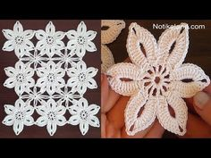Crochet flower tutorial How to join motifs - YouTube