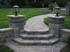 Script can bring a new level of refinement and class to any home with our custom brick paver patios, walkways, driveways, or retaining walls. Front Yard Walkway, Front Porch Steps, Front Yard Landscaping, Garden Stairs, Brick Garden, Backyard Patio Designs, Yard Design, Landscaping Retaining Walls, Retaining Wall Steps