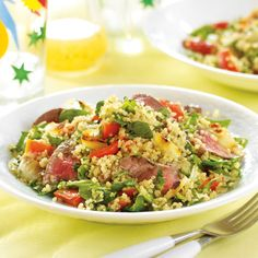 Quinoa is the it grain! Higher in protein and lower in carbohydrates than other grains, it is a nutritious addition to your diet. In this restaurant-worthy barbecued salad, it's paired with grilled beef and veggies.