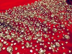 Gorgeous red rhinestone fabric! ❤️ #katkingcouture #rhinestone