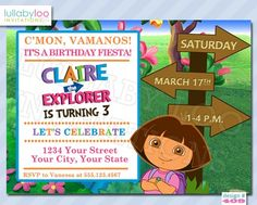 Dora the Explorer Birthday Invitations (409) | lullabyloo - Cards on ArtFire #dora the explorer #birthday #party #invitations