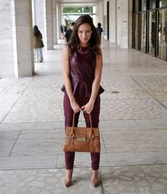 How to wear the oxblood trend for fall monochromatic color peplum top pants Live Fashion, Fashion Photo, Leather Peplum, Oxblood, Fashion Colours, Affordable Fashion, Spring Summer Fashion, Street Style, Style Inspiration
