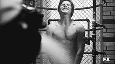 """Evan Peters flashed his co-stars during a shower scene. 