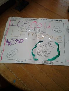 Homemade lemonade sign. Fun thing to do with friends, and a money maker!