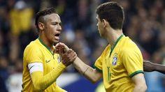 Brazil National Football Team after scoring 6 goals against Australia during a Friendly match. Fifa, Neymar 11, National Football Teams, Brazil, Barcelona, Goals, Couple Photos, Instagram Posts, Buffet