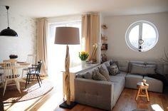 aménagement salon salle à manger -canape-angle-table-console-lampadaire-bois-flotte