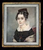 Portrait of Mary Catlin c.1827  Artist: George Catlin (b. PA 1796, d. NJ 1872)  watercolor on ivory  Mary was George Catlin's younger sister - born 1802.  Smithsonian American Art Museum