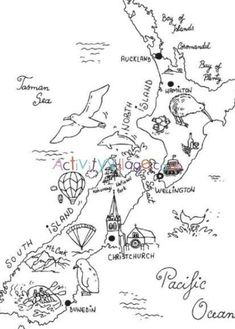 New Zealand colouring map Maori Tattoos, Irezumi Tattoos, Key Tattoos, Skull Tattoos, Foot Tattoos, Sleeve Tattoos, Map Of New Zealand, New Zealand Travel, New Zealand Symbols