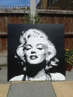 Marilyn Monroe painting,canvas,large,stencil art,spray paints,black & white,grey,movie star,hollywood,iconic,pop art,home,living,portrait, by AbstractGraffitiShop on Etsy