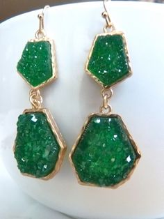 Druzy Drusy Emerald Holly Green Gold Bezel by JeweltoneJewelry, $31.00