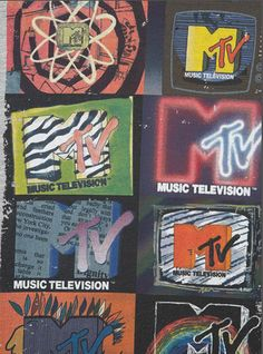 The original purpose of MTV was to be playing music videos guided by on-air personalities known as VJs. Today, however, with the rise of Digital Age, MTV has moved away from playing music videos, relying instead on original comedies and reality show. Retro Wallpaper, Aesthetic Iphone Wallpaper, Aesthetic Wallpapers, Iphone Wallpaper 90s, Photo Wall Collage, Picture Wall, Rock Poster, Retro Aesthetic, Music Aesthetic