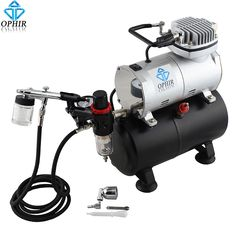 OPHIR 110V220V Air Tank Compressor Dual Action Airbrush Kit for Temporary Tattoo Model Paint Cake Decorating Machine _AC090+005