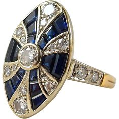 This is a rare, authentic and gorgeous Art Deco ring. It is dated to the Art Deco period which took place about The Art Deco movement has Art Deco Ring, Art Deco Jewelry, Modern Jewelry, Jewelry Rings, Jewellery, Antique Rings, Vintage Rings, Vintage Jewelry, French Art Deco