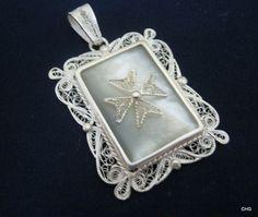 Handmade Silver Filigree Pendant / Mother of Pearl
