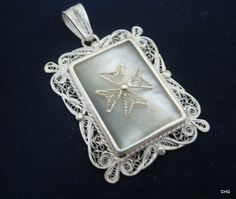 Handmade Silver Filigree Pendant / Mother of Pearl