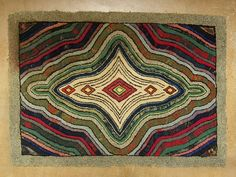 1310A: Antique Spiral Design Hook Rug 28x39'' : Lot 1310A