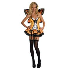 #889139 Flutter around this Halloween as the Fantasy Butterfly. The Fantasy Butterfly Costume includes a yellow-orange, front corset laced dress with black and white polka dot ribbon embellishment and