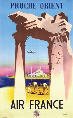 Poster by Jean Even - Air France Proche Orient est 300E Sign In to see what this sold for Jean Even (1910-1986) Air France Proche Orient 62x100, 1950