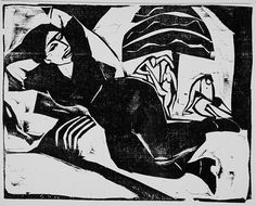 Ernst Ludwig Kirchner (Germany 1880-1938), Rest, 1911, woodcut. Image: 8 x 10 1/8 in. Robert Gore Rifkind Ctr for German Expressionist Studies @ LACMA
