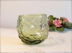 Vintage Crinkle Glass Lowball Avocado Green Barware by LasLovelies