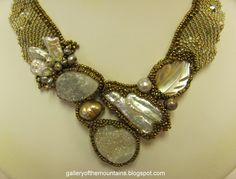 For the bride - Amolia Willowsong hand beaded necklace with druzies, shell and pearls. Earrings available to match. $1250.