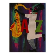 Jazz Saxophone ~ Vintage Music Art Print (art project - create word representing your music genre of choice and add details)