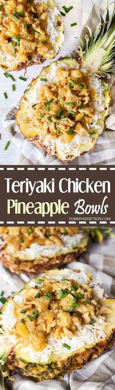 Take your dinner to another level with these Teriyaki Chicken Pineapple Bowls! Beautiful and crazy delicious, these are guaranteed to get many compliments from your friends and family! | yummyaddiction.com