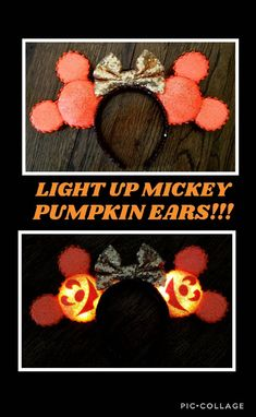Pumpkin Minnie Mouse Ears Headband Orange Sequin Light Up Mickey's Not So Scary Pumpkin Disneyland Disney World Magic Kingdom Halloween Ears