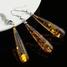 Women's Chic Tear Drop Baltic imitation amber Pendant Necklace Earring Wedding Jewelry Set L40601