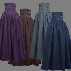 Details about Vintage Lady Victorian High Waist Ruffle Skirt Steampunk Walking Skirt 4 Colors - Outfits - Costume Steampunk Rock, Steampunk Fashion, Steampunk Skirt, Steampunk Clothing, Fashion Goth, Steampunk Necklace, Womens Fashion, Renaissance Clothing, Renaissance Skirt