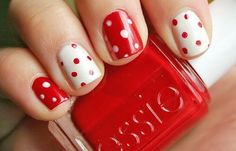 Polka dots nailart, Red, White