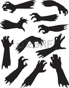 Photo about Helloween set of scary zombie hands silhouettes. Illustration of halloween, design, monster - 21146716 Halloween Zombie, Diy Deco Halloween, Casa Halloween, Zombie Prom, Diy Halloween Decorations, Holidays Halloween, Halloween Crafts, Halloween Design, Zombie Crafts