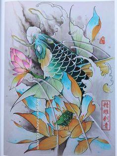Koi Tattoo Sleeve, Carp Tattoo, Koi Fish Tattoo, Lotus Tattoo, Fish Tattoos, Japanese Tattoo Koi, Japanese Koi, Koi Art, Japan Tattoo