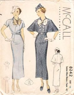 1930s Mccall 8242  1935 Dress and Cape
