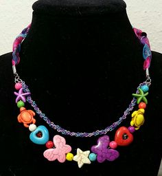 Colorful Stone, Braided Chain & Ribbon necklace for James's niece..